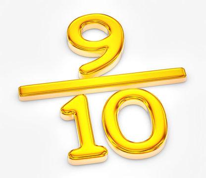 Golden score of nine out of ten illustration
