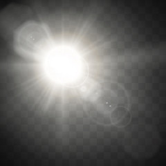 Sunlight special lens flare light. Sun flash effect isolated on transparent background. Vector illustration.