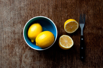 lemon on a wooden board