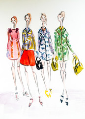 the girls on the podium. fashion sketch
