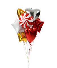 Bunch of big white red and gold heart star and candy balloon objects