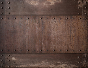 Wall Mural - old rusty metal background with rivets 3d illustration