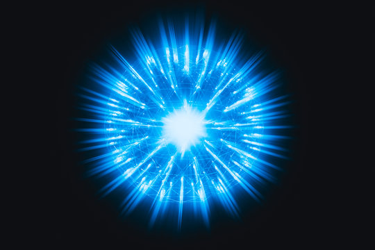 Nucleus of Atom Nuclear explode atomic bomb red hot ray radiation blue light science illustration concept.