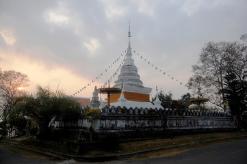 White chedi of Wat Phra That Khao Noi temple