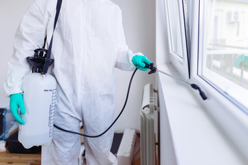Exterminator In Work Wear Spraying Pesticide With Sprayer