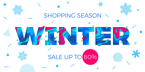 Winter sale shopping discount promo banner for seasonal holiday special offer design template. Vector blue text font for Christmas or New Year store or shop sale vector snowflake pattern background