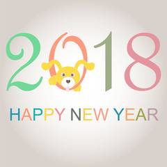 Colorful typography banner Happy New Year 2018, congratulation card on grey stock vector illustration