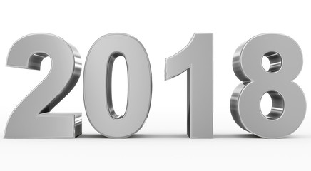 year 2018 silver 3d numbers isolated on white Wall mural