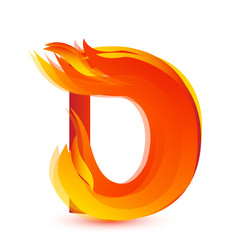 Letter D in fire flame icon vector