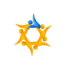 Teamwork leader organizing group icon vector