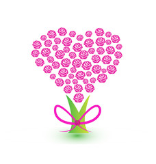 Tree filled with pink roses and a ribbon tree trunk, abstract vector icon