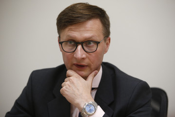 Russian National Reinsurance Company Chief Executive Galushin speaks during an interview in Moscow
