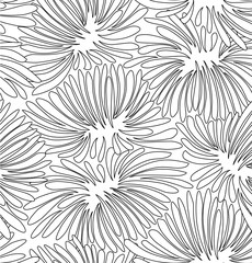 Abstract black and white contour floral background. Pattern with decorative chrysanthemums for coloring book