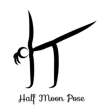 Half Moon Pose, Ardha Chandrasana.Yoga Position. Vector Silhouette Illustration. Vector graphic design or logo element for spa center, studio, class, center, poster. Yoga retreat. Black. Isolated.