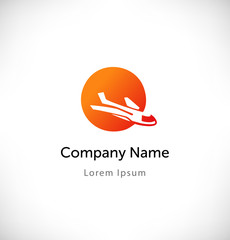 Plane in sunset logo vector. Isolated icon, sign, logotype consept