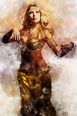 Beautiful blonde belly dancer woman