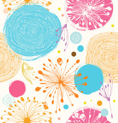 Seamless decorative pattern with abstract details. Cute vector background
