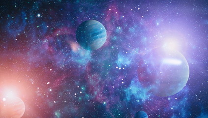Universe scene with planets, stars and galaxies in outer space showing the beauty of space...