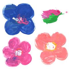 Child like painted flowers