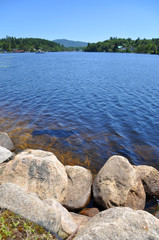 Lake Flower in village of Saranac Lake in Adirondack Mountains, New York, USA.
