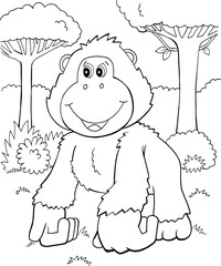 Cute Gorilla Vector Illustration Art