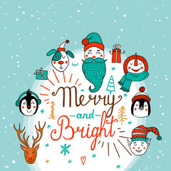 Set of cute cartoon Christmas characters. Vector illustration