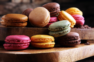 Foto op Textielframe Macarons Close up colorful macarons dessert with vintage pastel tones