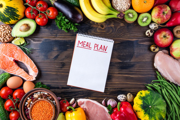 Selection of healthy food. Fresh organic vegetables, fruits, meat and fish. Healthy eating and meal plan concept. Top view