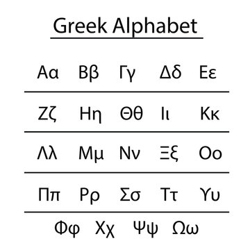 greek alphabet vector with uppercase and lowercase letters - school education concept