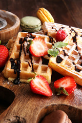 Belgian waffles with strawberries and raspberries, homemade heal