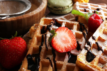 Belgian waffles with strawberries and raspberries, homemade healthy breakfast