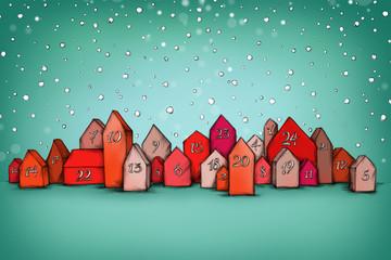 Adventskalender-Häuser im Schnee