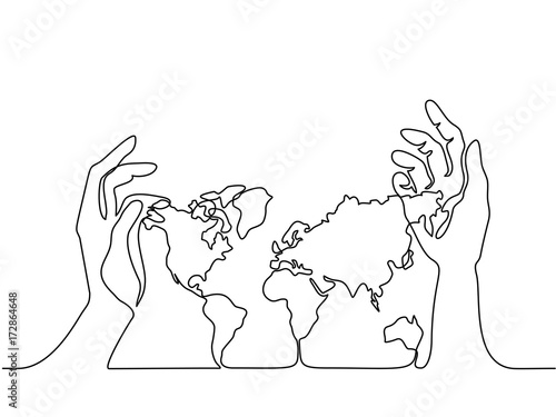continuous line drawing map of the earth in human hands vector