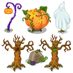 Symbols of Halloween - scary tree, pumpkin, ghost, grave, lantern. Six icons set isolated on white background. Vector illustration in cartoon style