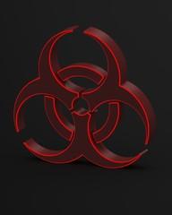red biohazard symbol 3d