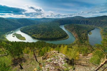 Autumn river landscape, top view, Mansky loop, Krasnoyarsk, Russia