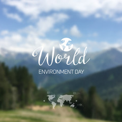 Vector illustration of a World Environment Day, blurred unfocused mountain landscape background.