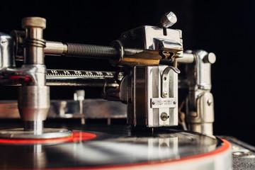 Recording cutting head on an old vinyl recording machine