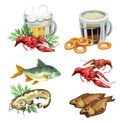 Light and dark beer in mug with various snacks, crabs, fish, bagels