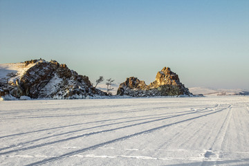 Ice Road through Baikal lake, sunrise, Siberia, Russia.