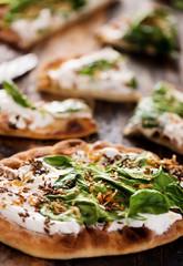Spinach Yogurt Flatbread Naan Pizza
