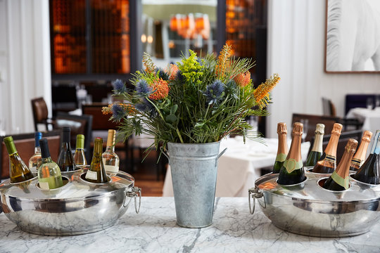 Wine and Champagne Bottles in an Upscale Restaurant