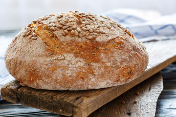 Homemade bread with sunflower seeds.