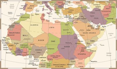 North Africa Map - Vintage Vector Illustration