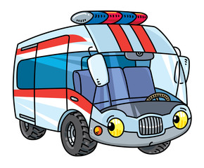 Funny small ambulance car with eyes.