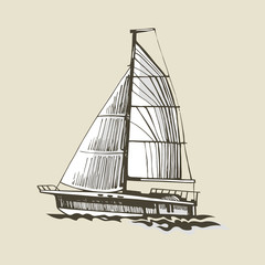 Sailing yacht on a beige background