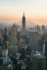 View of New York City at sunset. Cityscape