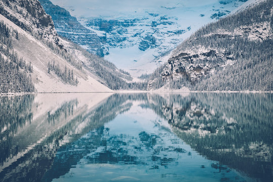 Beautiful mountain landscape scenery at Lake Louise in winter