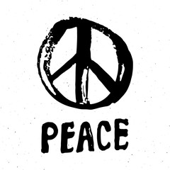 Peace symbol, hand drawn grunge Hippie or pacifist sign, vector illustration isolated on white background
