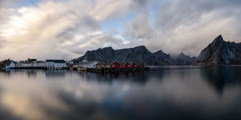 Waterfront of Norwegian village in mountains